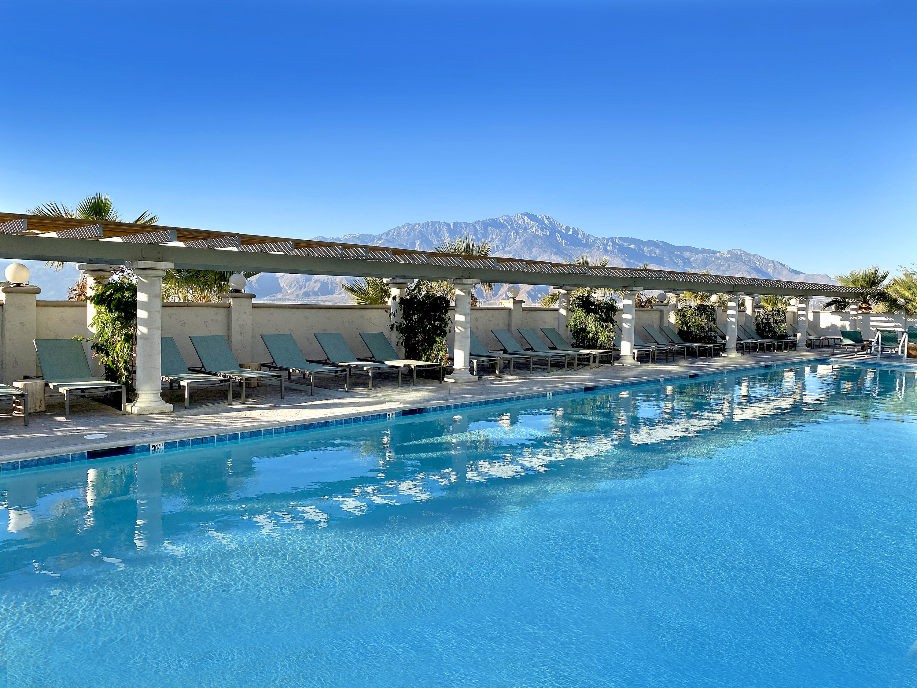 A 100-foot mineral-water pool at the Azure Palm Springs