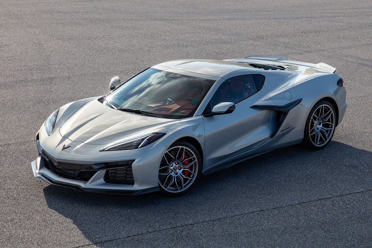 The 2023 Chevrolet Corvette Z06 in silver sitting on the tarmac. It's the first high-performance version of the new C8 Stingray.