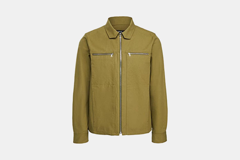 A green, zip up jacket.