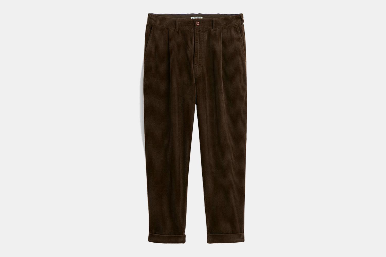 a pair of brown, corduroy pants
