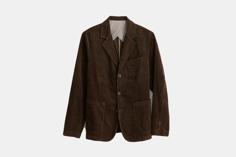 a deep brown corduroy blazer