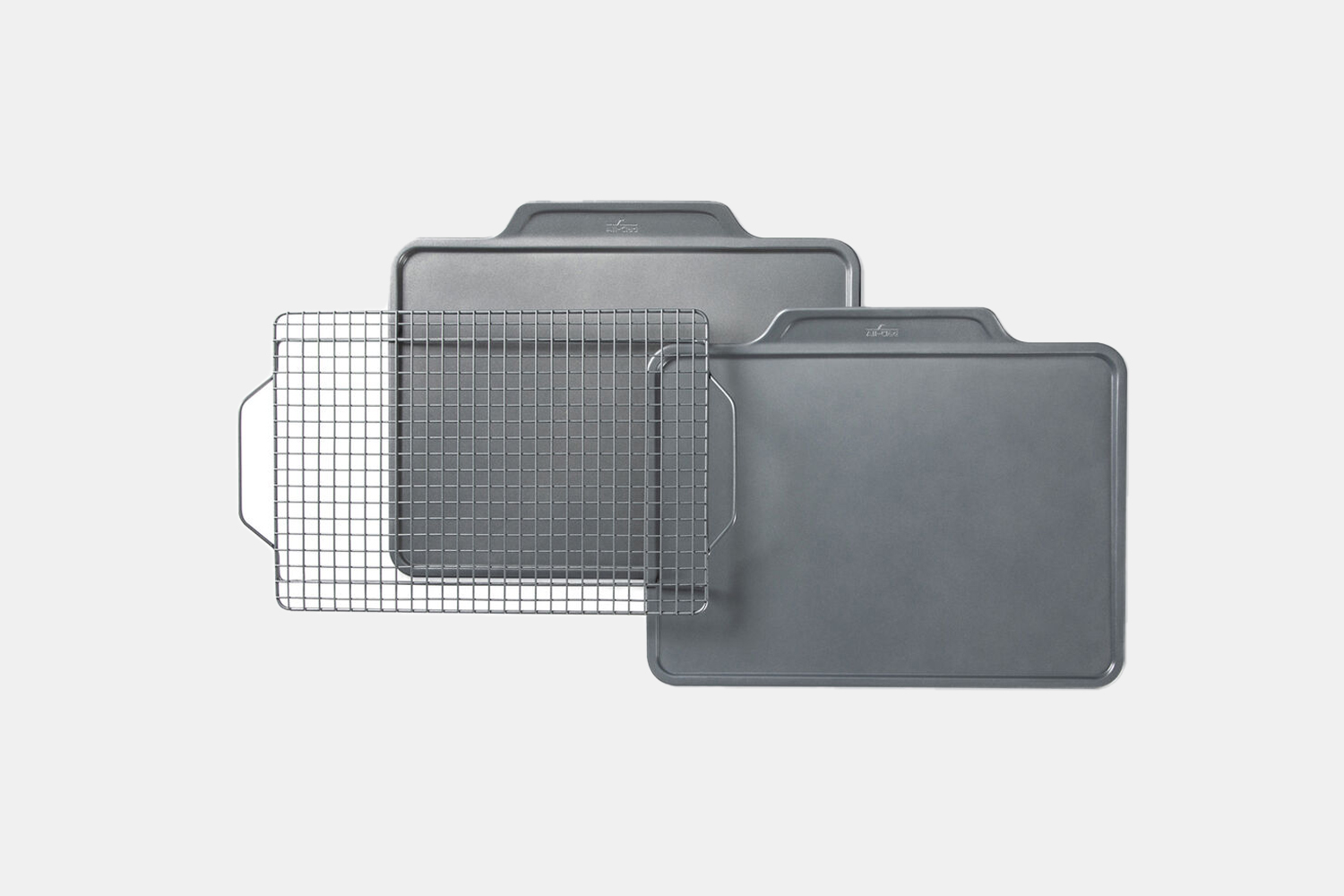 Two metal trays and a rack.