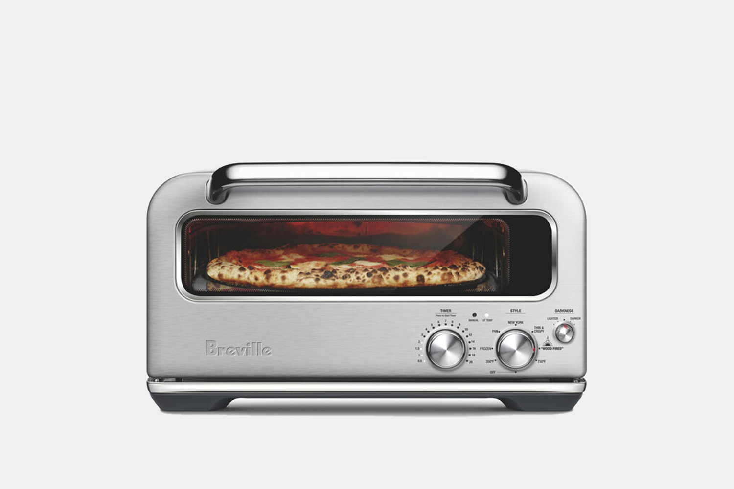 a small, rectangular oven with a pizza inside
