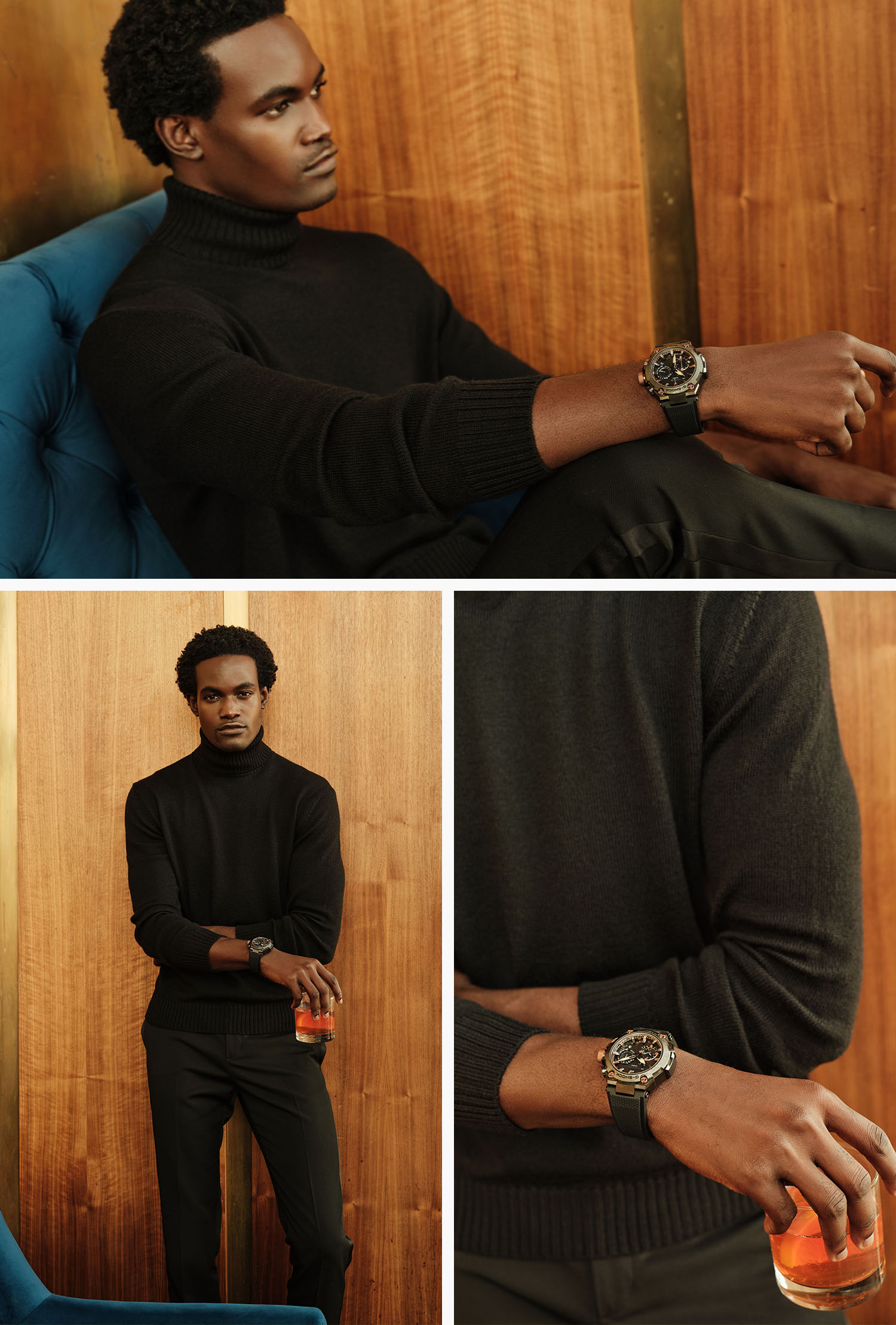 handsome man in hotel bar wearing a black turtleneck sweater, black slacks and a casio g shock watch, holding an old fashioned cocktail