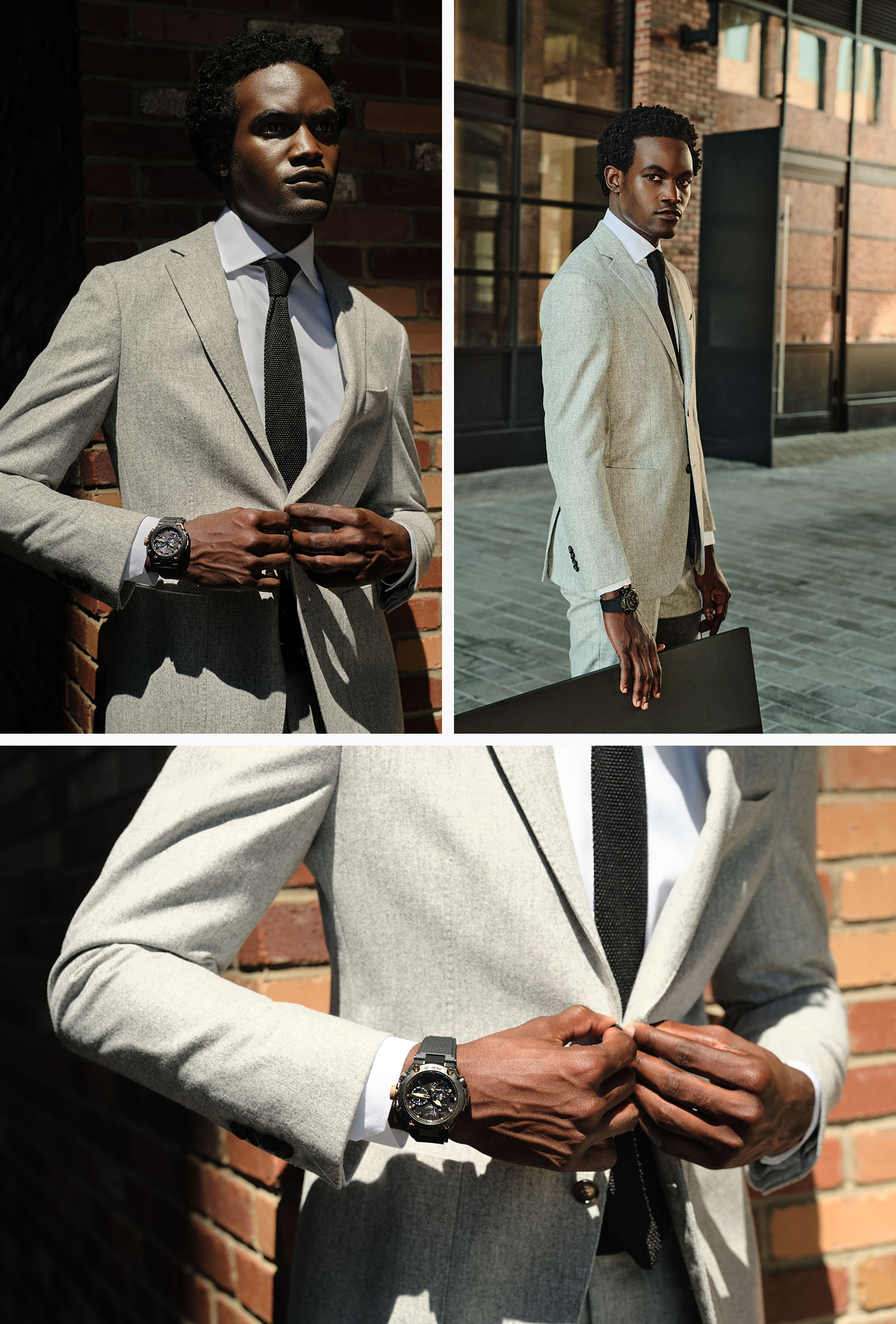 handsome man on a city street wearing a light gray flannel suit, black tie, white shirt and a casio g shock watch