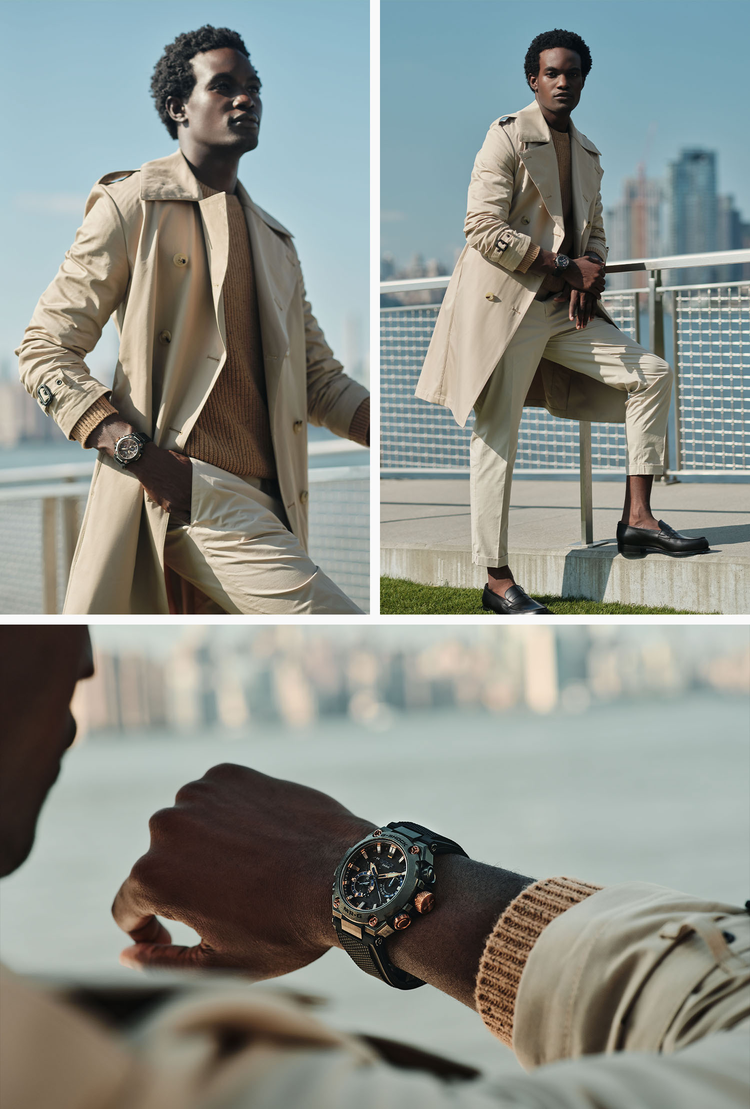 handsome man at a pier with the east river and manhattan behind him, wearing a tan trenchcoat, khaki slacks and a dark khaki sweater with a casio g shock watch