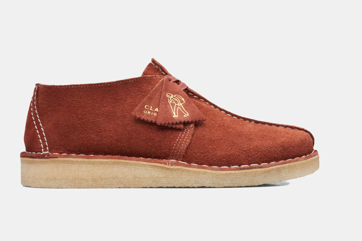 a fun-shaped suede colored shoe with a crepe sole.