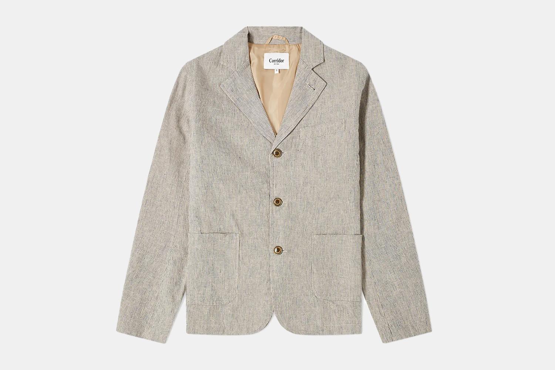 A neutral patterned blazer