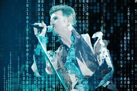 David Bowie, live on stage in 1996, close to the time he released the first major label downloadable single