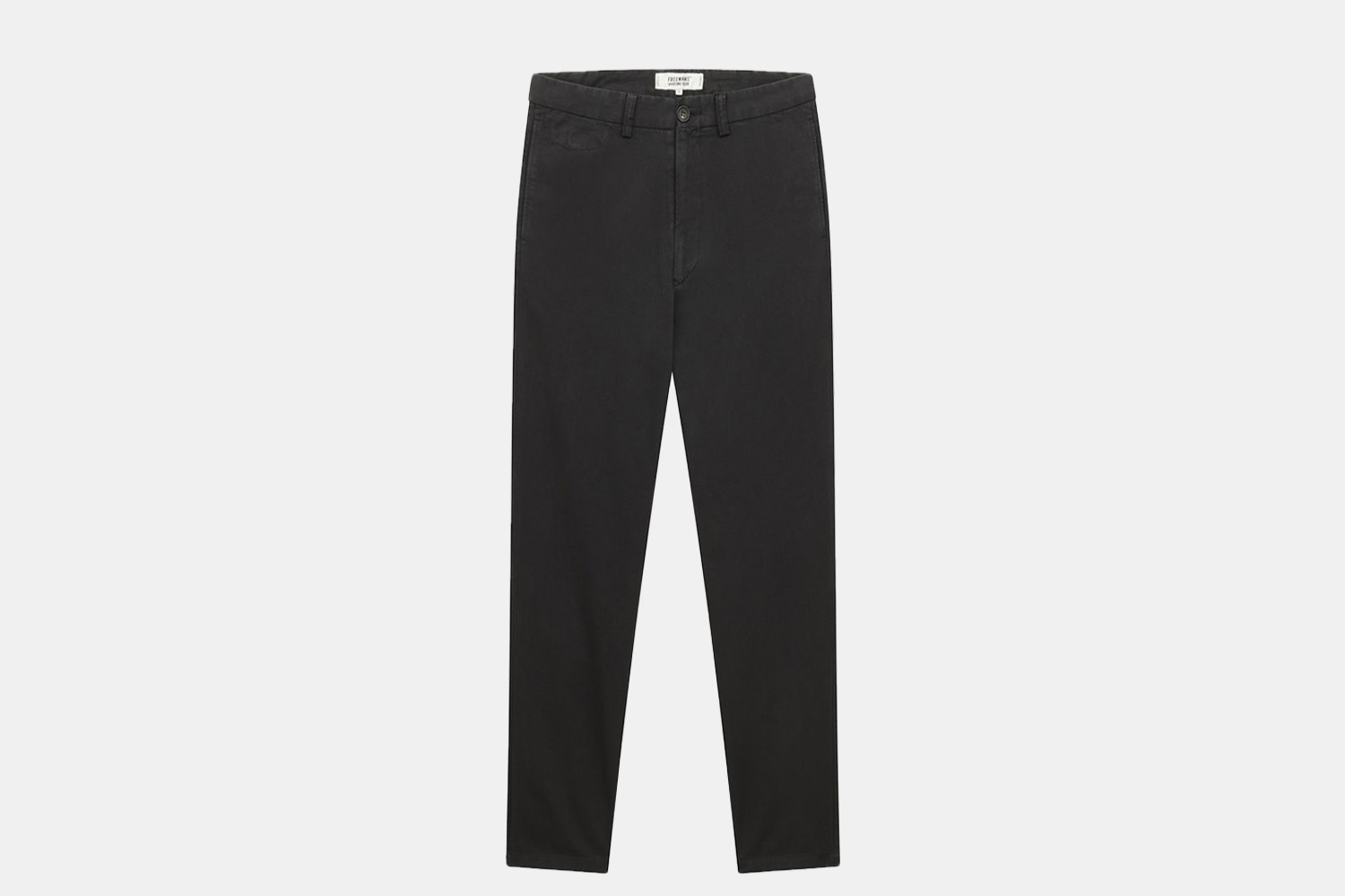 a pair of black chino trousers.