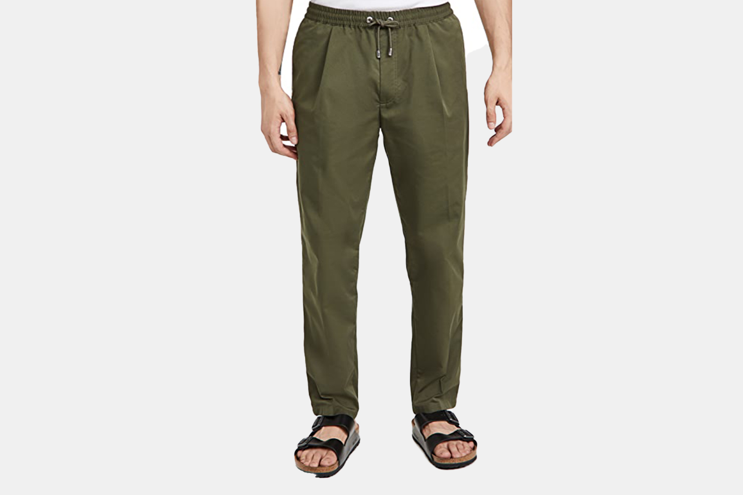 a pair of olive green, relaxed pants.