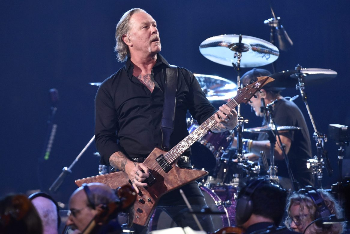 """James Hetfield and Lars Ulrich of Metallica perform during the """"S&M2"""" concerts at the opening night at Chase Center on September 06, 2019 in San Francisco, California. A cover of Metallica songs is currently selling for $50, which is pricier than expected."""