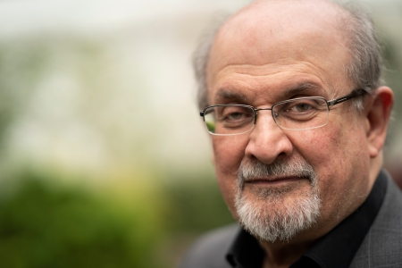 Salman Rushdie, 2019 Booker Prize shortlisted author, at the Cheltenham Literature Festival 2019 on October 12, 2019 in Cheltenham, England. The author will now be releasing fiction installments via Substack.