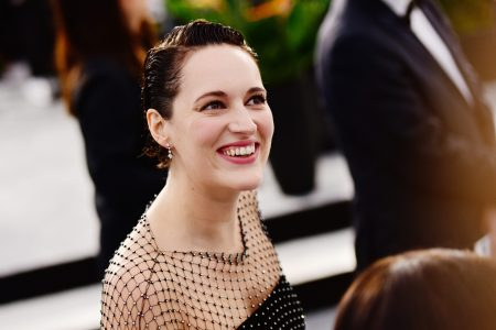 Phoebe Waller-Bridge, who's rumored to be the next Indiana Jones, in a black dress at the SAG Awards