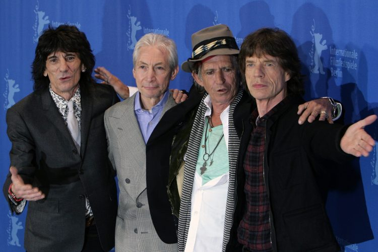 Ronnie Wood, Charlie Watts, Keith Richards and Mick Jagger in Hannover, Germany. At a more recent Stones show, the band paid tribute to Watts, their late drummer