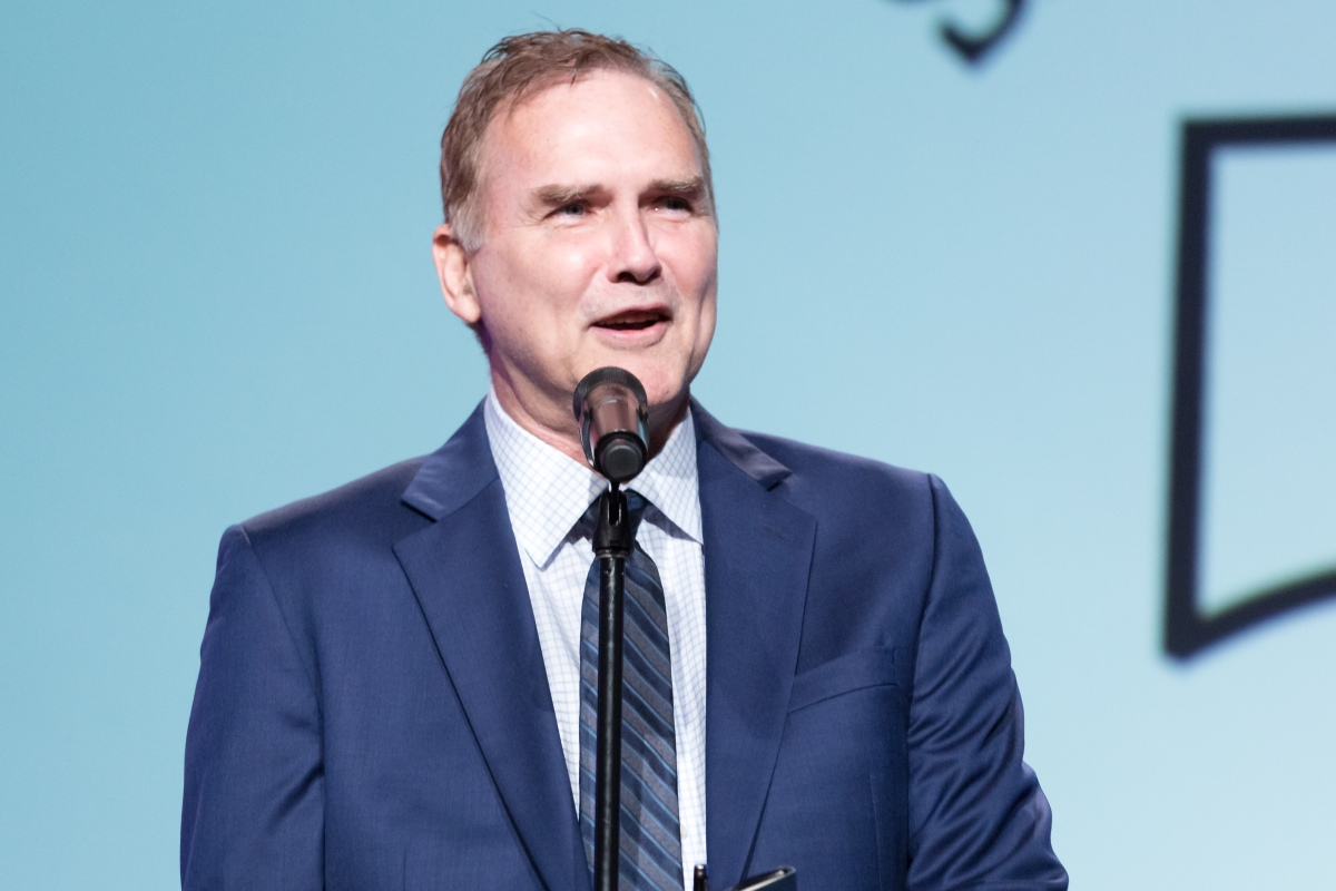 Norm MacDonald performs on stage at the Saban Community Clinic's 50th Anniversary Dinner Gala at The Beverly Hilton Hotel on November 13, 2017 in Beverly Hills, California.