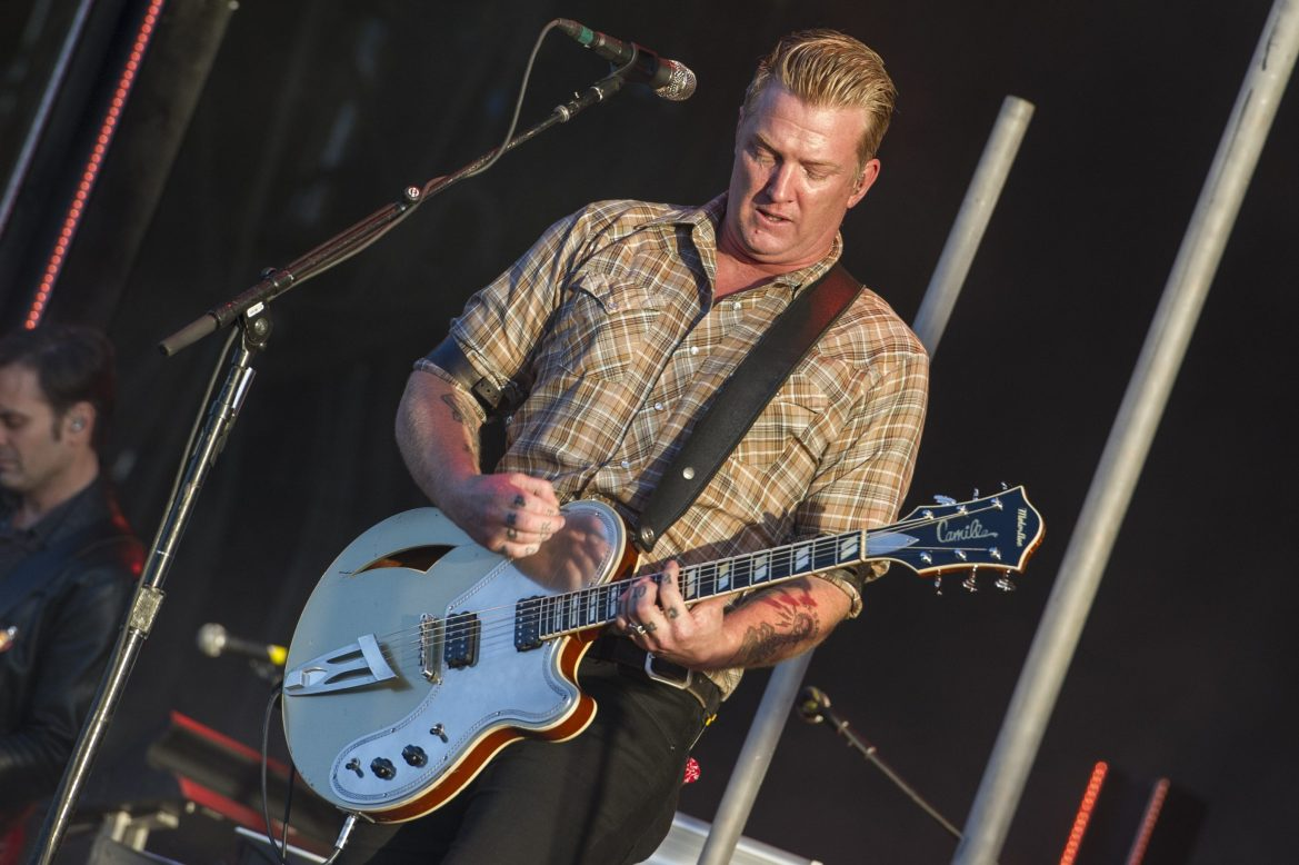 Josh Homme performs at the Queens of the Stone Age and Friends show at Finsbury Park on June 30, 2018 in London, England.