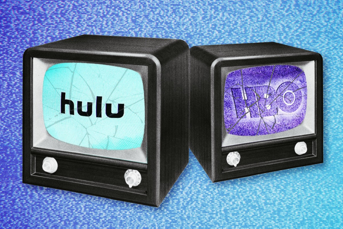 Two retro TVs with streaming services HBO Max and Hulu's logos on the TVs' cracked screens