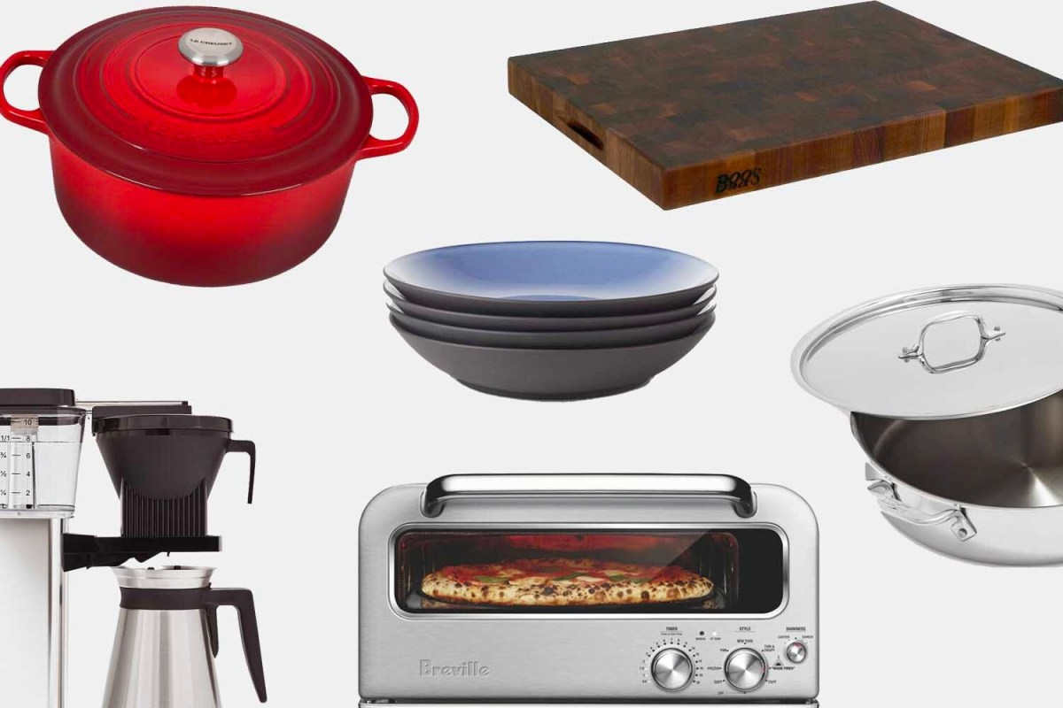 A dutch oven, cutting board, coffee maker and more