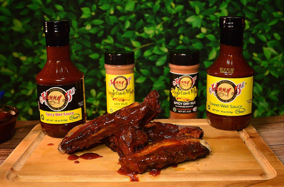 Pictures of Johnny B's sauces, a Chicago- and Kentucky-based sauce and seasoning company.