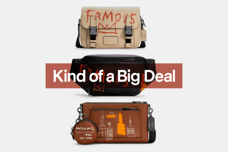 """Three men's bags from the Coach x Jean-Michel Basquiat collection on a grey background with the text """"Kind of a Big Deal"""" overlaid on top"""