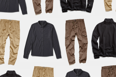 An assortment of comfortable pants and tops for fall