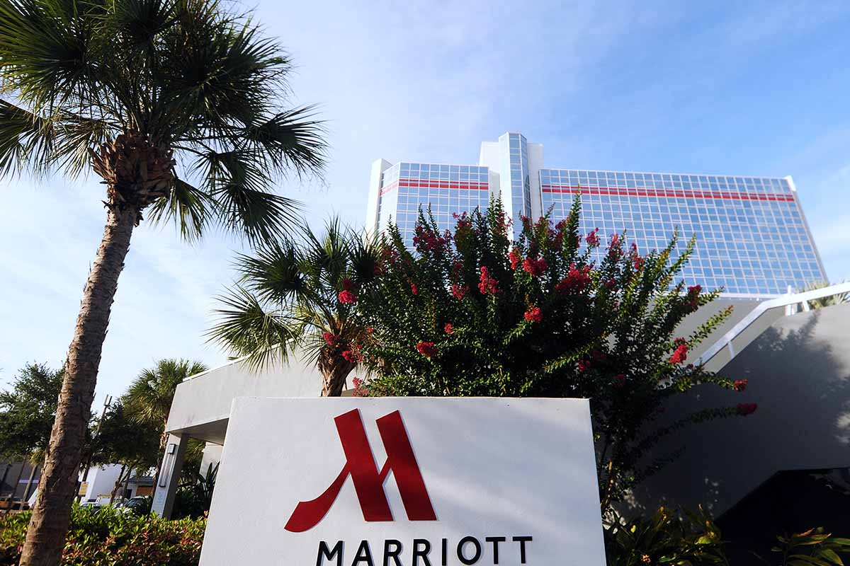 The Marriott hotel in downtown Orlando, Florida is seen on July 10, 2019, the day after the hotel chain was sued by the District of Columbia Attorney General for deceptive resort fees.
