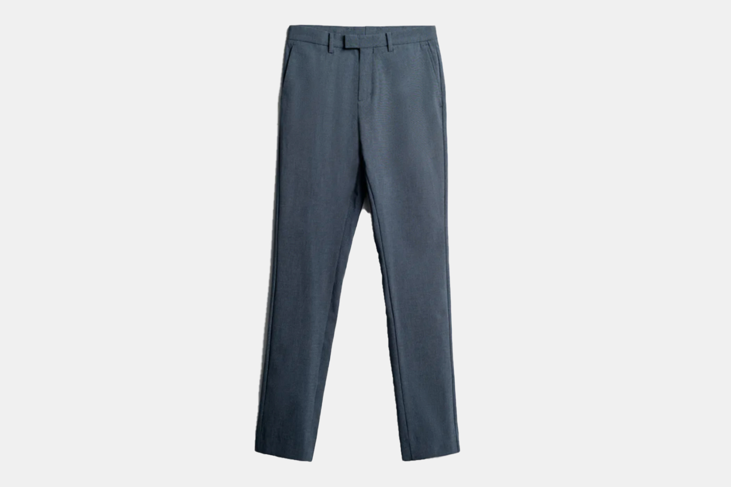a pair of tabbed, navy houndstooth trousers.