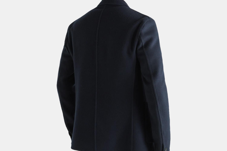 the back of a navy blazer.