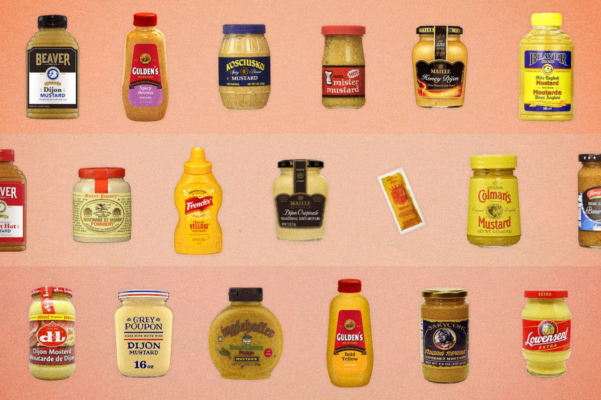 A composed shot of 19 different mustard, from yellow to spicy brown to hot English