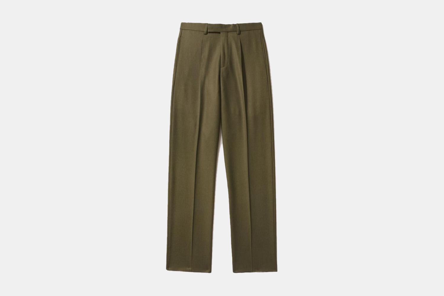 a pair of olive green, single pleated trousers.