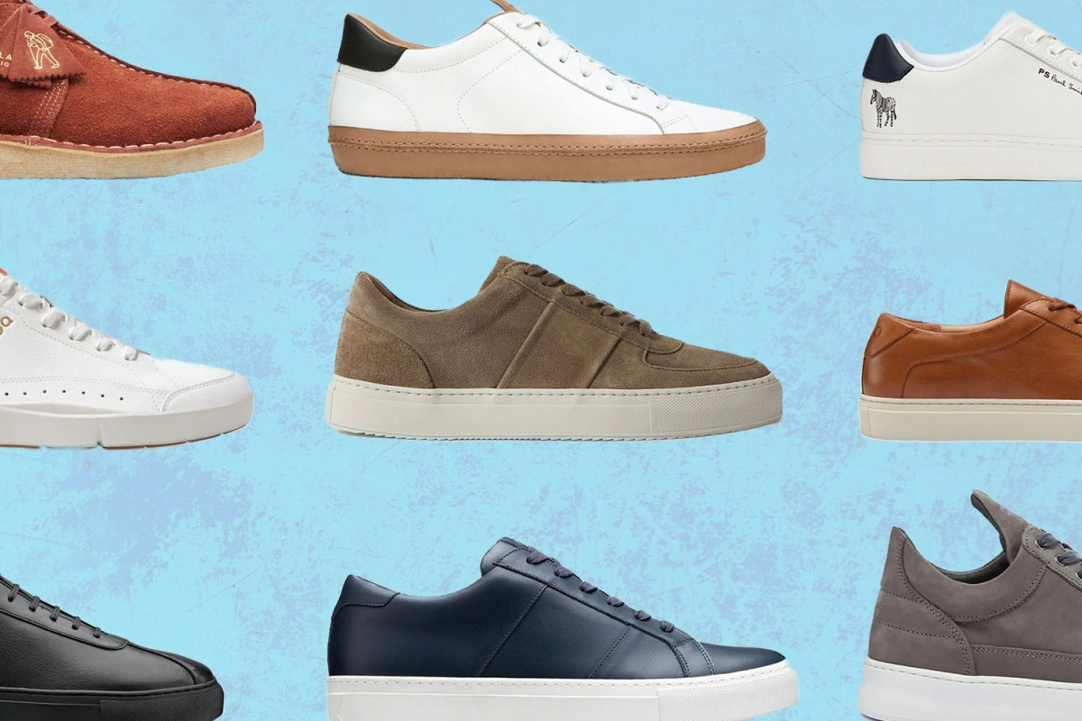 A composite of office-appropriate sneakers from brands like Greats and Koio