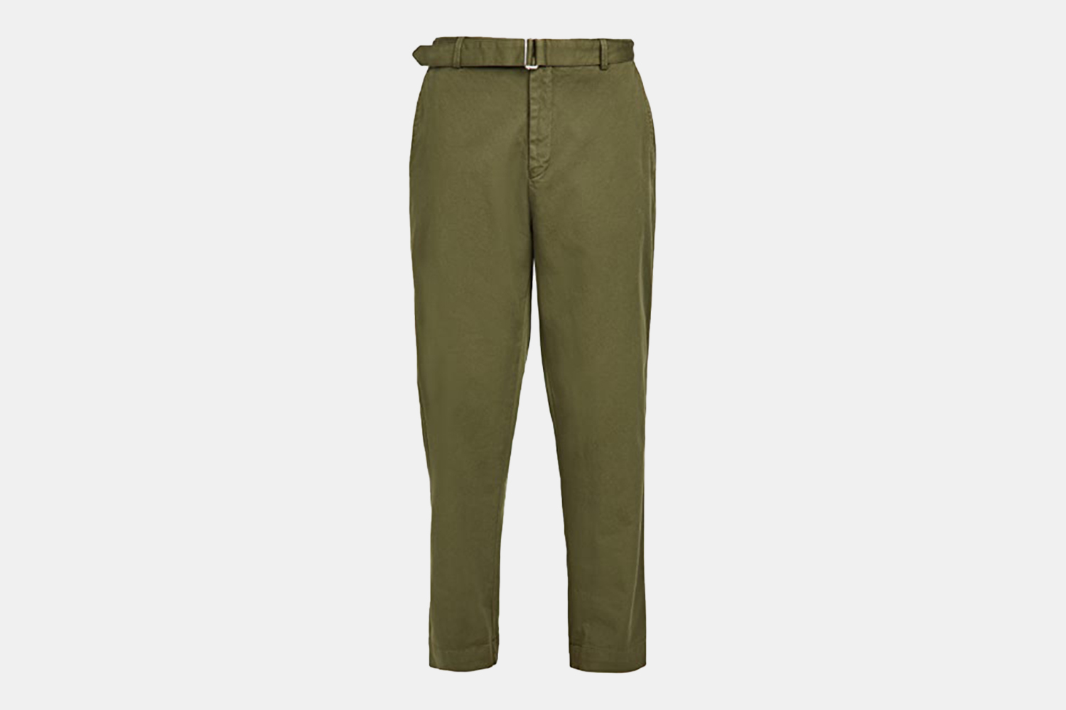 a pair of built-in belted, olive colored pants.