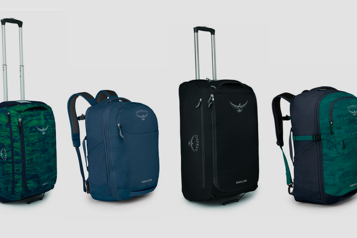 A series of bags from Osprey's Daylite Collection, included new wheeled suitcases, duffels and backpacks