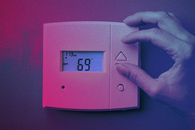 Photo shows thermostat set to 69 degrees