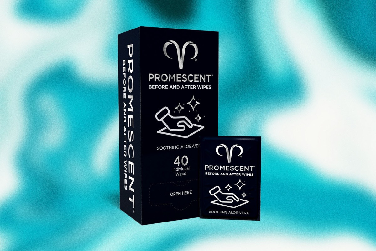 Image shows a box of Promescent's Before and After Wipes against a blue, watery background