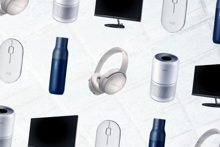Pictured: Various items (water bottles, headphones, etc.) ideal for returning to the office