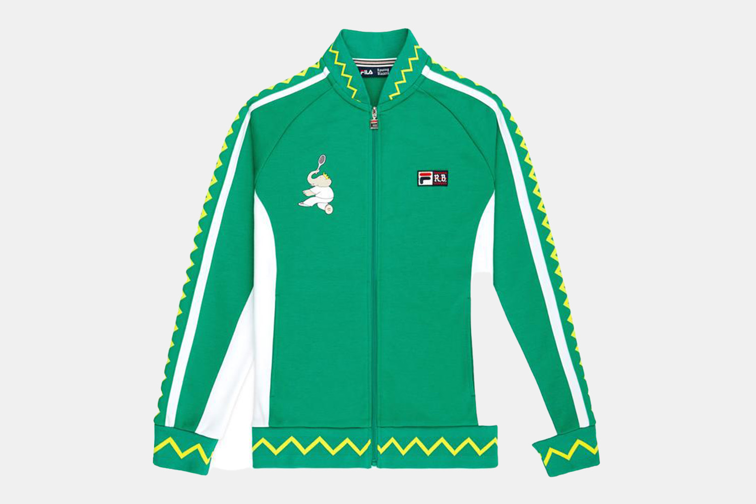a green embroidered track jacket.