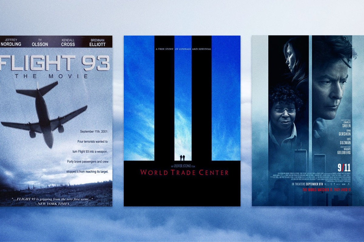 """Promotional posters for """"Flight 93,"""" """"World Trade Center"""" and """"9/11"""" films"""