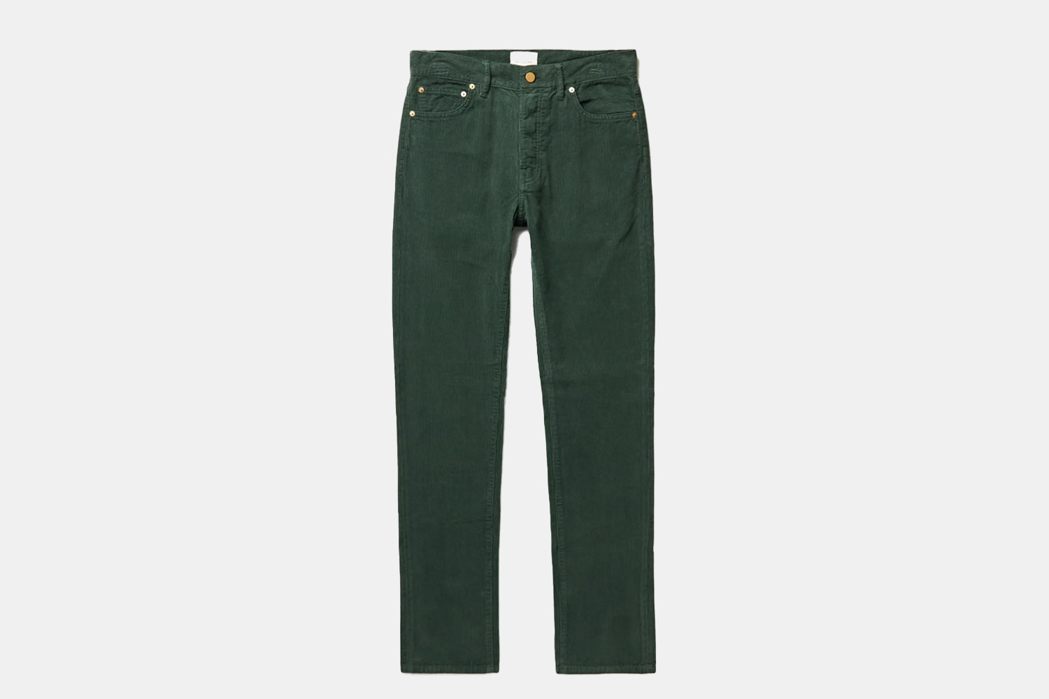 A pair of deep green, slim trousers.