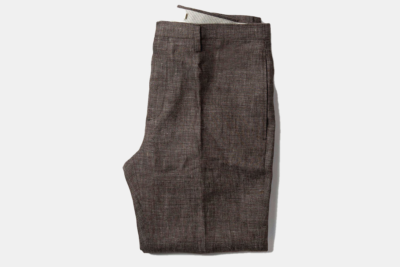 Taylor Stitch Sheffield Pants lay flat.