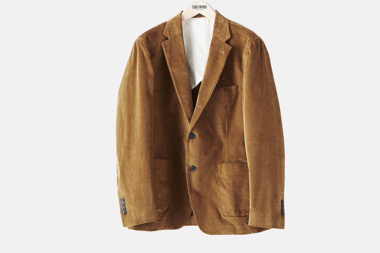 a tan corduroy suit jacket