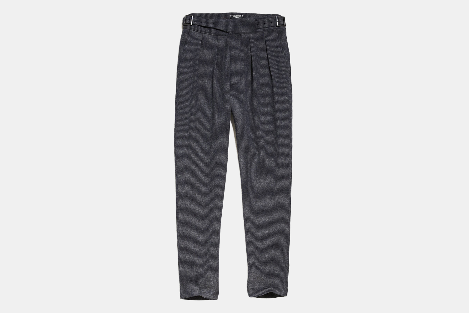 a pair of self-belted, charcoal colored trousers.