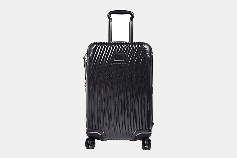 a matte black suitcase.