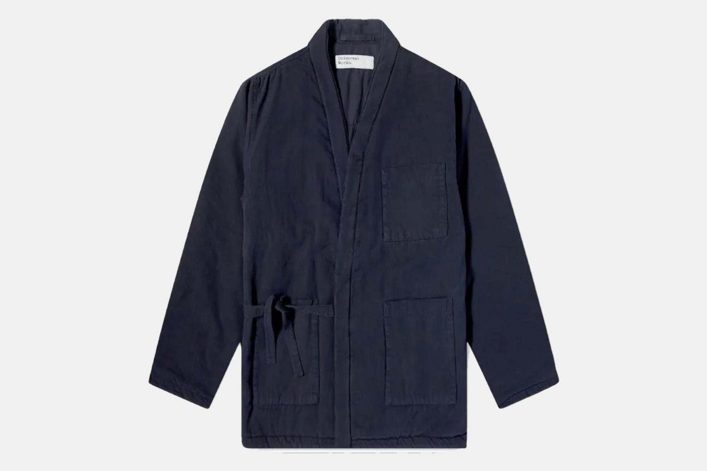a workwear jacket with a classic kimono tie In navy.