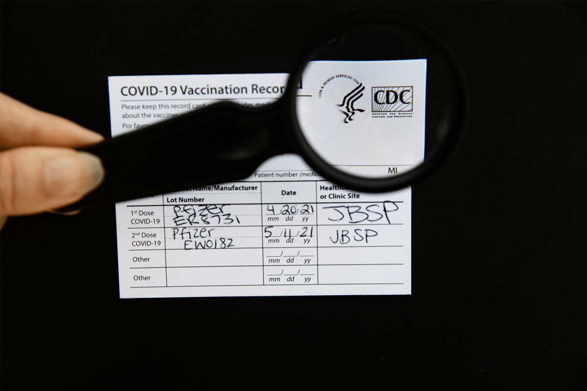 An authentic COVID-19 vaccine certificate