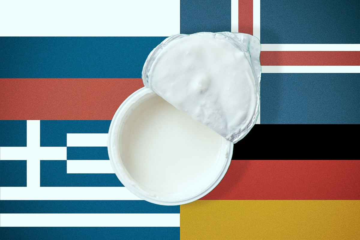 A yogurt superimposed over four different national flags.
