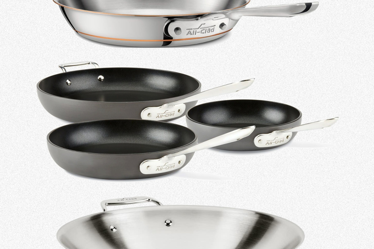 A Copper Core skillet, three Hard Anodized nonstick skillets and a stainless steel wok from All-Clad, all of which are on sale during a factory seconds sale