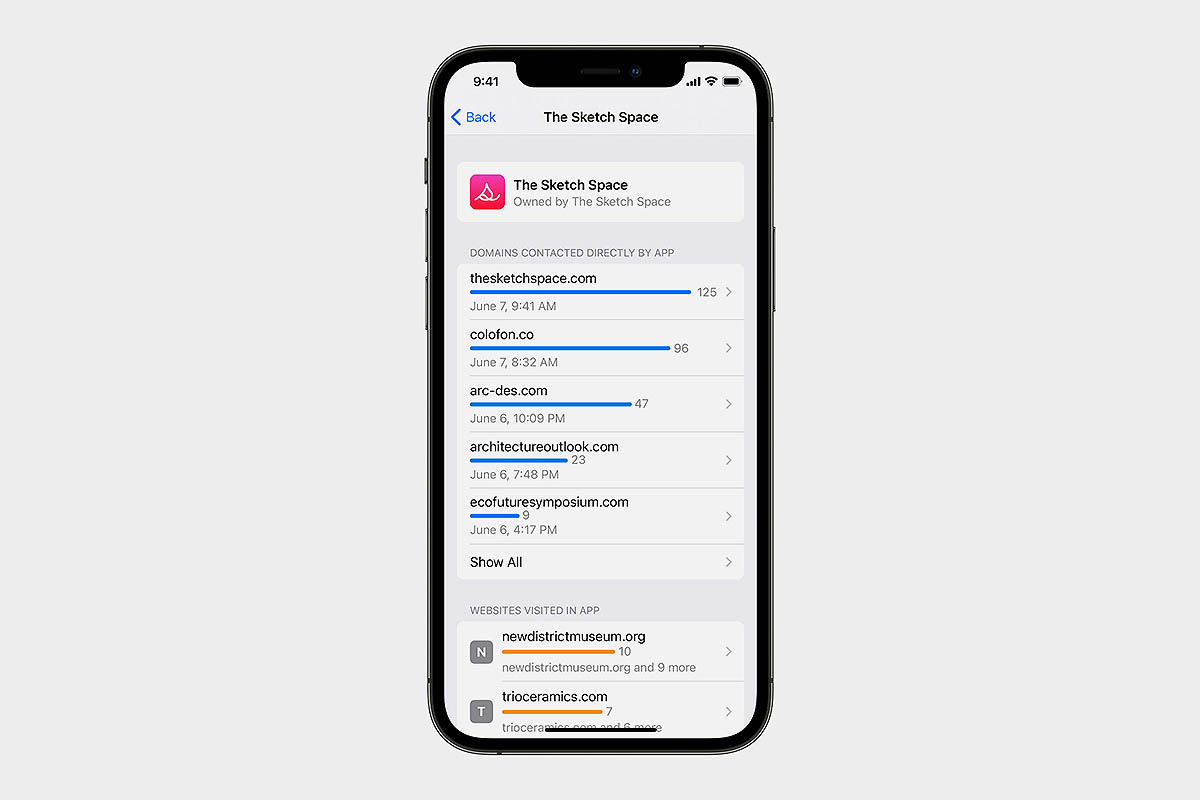 screen of App Privacy Report, a new feature on iOS 15. With App Privacy Report, users can see how often each app has used the permission they've previously granted to access their location, photos, camera, microphone, and contacts during the past seven days.