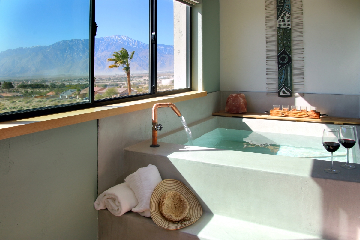 A mineral spring-fed hot tub at the Azure Palm Springs Resort